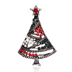 Christmas Tree Crystal Enamel Brooch Pin Xmas Jewelry Silver