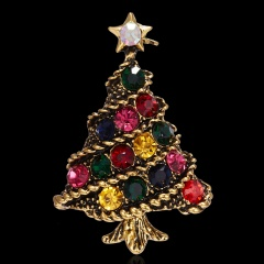 Christmas Tree Crystal Enamel Brooch Pin Xmas Jewelry Gold