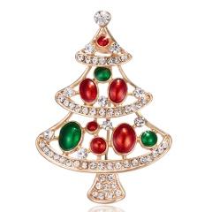 Christmas Tree Crystal Enamel Brooch Pin Xmas Jewelry Red