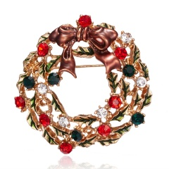 Christmas Bell Snowflake Garland Wreath Snowflake Crystal Enamel Brooch Pin Xmas Multi-color