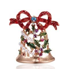 Christmas Bell Snowflake Garland Wreath Snowflake Crystal Enamel Brooch Pin Xmas Red