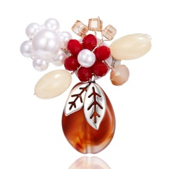 Chic Crystal Pearl Flower Brooch Pin Handmade Resin Wedding Women Party Jewelry Brown