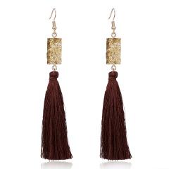 Fashion Pink Black Tassel Natural Stone Resin Earrings Drop Women Jewelry Yellow