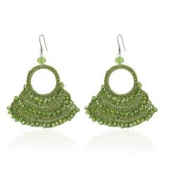 Retro Boho Crystal Geometric Sector Dangle Earrings Ear Hook Women Party Jewelry Green