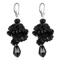 Fashion Crystal Beads Dangle Earrings Boho Long Tassel Women Handmade Ear Hook Black