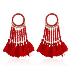 Fashion Geometric Tassel Earrings Dangle Charm Women Elegant Jewelry Red