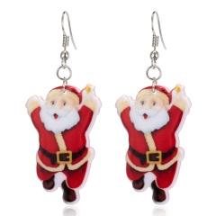 Fashion Women Christmas Santa Claus Dangle Ear Stud Earring Wedding Jewelry Gift Dancing Santa Claus