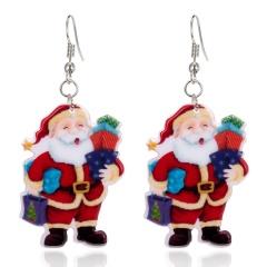 Fashion Women Christmas Santa Claus Dangle Ear Stud Earring Wedding Jewelry Gift Sent Gift Santa Claus