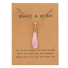 Fashion Natural Stone Waterdrop Card Pendant Necklace Choker Clavicle Woman Gift Pink