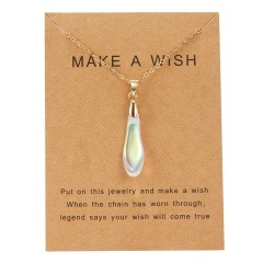 Fashion Natural Stone Waterdrop Card Pendant Necklace Choker Clavicle Woman Gift White