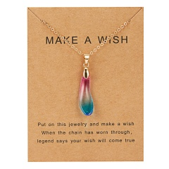 Fashion Natural Stone Waterdrop Card Pendant Necklace Choker Clavicle Woman Gift Colorful