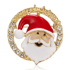 Cartoon Santa Claus Enamel Piercing Brooch Pin Collar Decor Badge Corsage Jewelry Women Xmas Gift Santa Claus