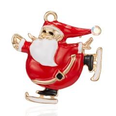 Cartoon Santa Claus Enamel Piercing Brooch Pin Collar Decor Badge Corsage Jewelry Women Xmas Gift Santa Claus skating 2