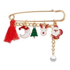 Christmas Elk Bell Snowman Pearl Tassel Charm Brooch Pin Moon