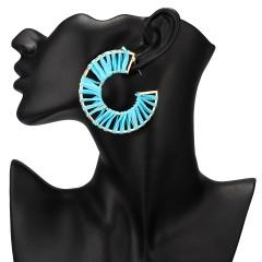 Winding hand-woven raffia geometric C stud earrings ER18Y1136-1