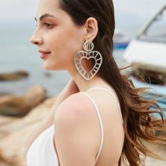 Love gradient winding hand-woven raffia geometric stud earrings ER18Y1139-2