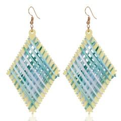 Fashion Women Braided Earrings Resin Raffia Geometric Dangle Drop Ear Hook Blue