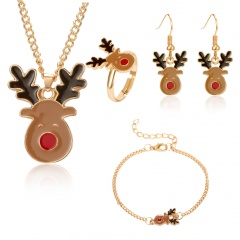 Christmas Jewelry Necklace Earrings Ring Bracelet Set Christmas deer head