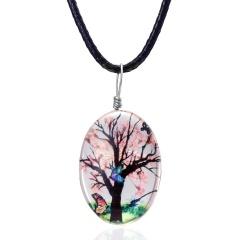 Glass Wishing Bottle Floating Locket Pendant Necklace Pink