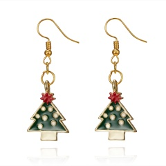 Gold Alloy with Pearl Simle Dangle Earring Fashion Simple Cute Earring Jewelry Christmas Tree
