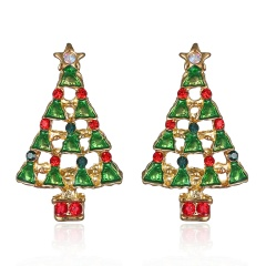 Fashion Christmas Style Stud Earring Small Cute Colorful Earring Jewelry Wholesale Christmas Tree
