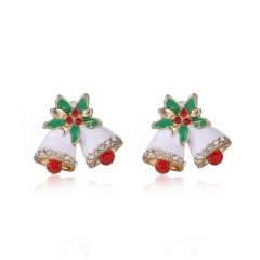 Fashion Christmas Style Stud Earring Small Cute Colorful Earring Jewelry Wholesale Bells