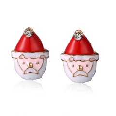 Fashion Christmas Style Stud Earring Small Cute Colorful Earring Jewelry Wholesale Santa