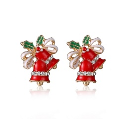 Fashion Christmas Style Stud Earring Small Cute Colorful Earring Jewelry Wholesale Red Bells