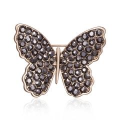Rinhoo 1pc Rhinestone Acrylic Brooch Coffee Gold Butterfly Leaf Branch Flower Plant Pin Brooch Suit Lapel Badge Jewelry Gift Butterfly