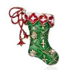 Christmas Socks Stockings Rhinestone Painting Oil Christmas Brooch BC18Y0980