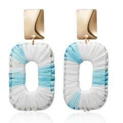 Vintage Lafite Drop Earrings for Women Bohemian Statement Earring Raffia Straw Handmade Earrings Fashion Jewelry Female Brincos Blue