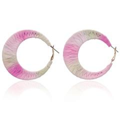 Fashion Charm Female Earrings Unique Wrap hand-woven Raffia Geometric C-shaped Earrings Colorful Jewelry Hangle Earrings 2019 Colorful