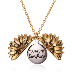 You Are My Sunshine Sunflower Mom Mother Pendant Necklace Gift Gold