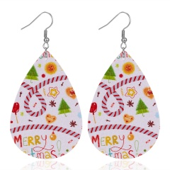 New Fashion Retro Ethnic Christmas Leather Earring Creative Sparkly Oval Teardrop Pendant Fashion Earring for Women Jewelry Gift Christmas ribbon