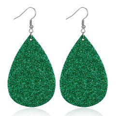 New Fashion Retro Ethnic Christmas Leather Earring Creative Sparkly Oval Teardrop Pendant Fashion Earring for Women Jewelry Gift Fluorescent green