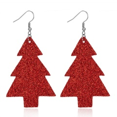New Bohemian Red Green Glitter Pine Christmas Tree Earrings Female Geometry Faux Leather Earring Jewelry Accessories Red 1