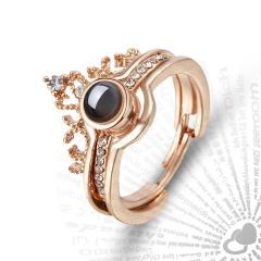 Fashion Design 100 Language I Love You Ring Elegant Female Bridal Wedding Projection Set Rings Love Memory Ring Romantic Jewelry Gold