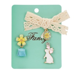 3pcs/set Bunny Bowknot Flower Pearl Painting Oil Paper Card Badge Small Brooch Set Rabbit
