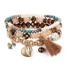 Classic Heart Flower Charm Bracelet Set For Women Multilayer Natural Stone Vintage Leaf Charms Beads Bracelets & Bangles Jewelry Gifts Coffee