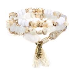 Crystal Bead Bracelets For Women Bohemian Animal Owl Bracelet Female Jewelry Tassel Natural Stone Charms Wristband Pulseira Feminina WHITE