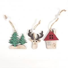 3pcs/set Christmas Wooden Tree Elk House Decoration 3pcs
