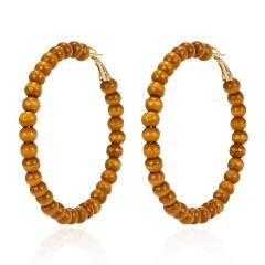 Korea Handmade Wooden Straw Weave Rattan Vine Braid Drop Earrings New Fashion Dangle Earring Vintage Ethnic Party Brincos Beads