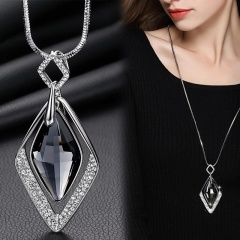 Classic Pendant Necklace Feather Necklace Long Sweater Chain Statement Jewelry Necklace for Women Crystal diamond