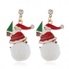 Christmas Jewelry Earrings Cute Santa Claus Elk Snowman Lovely Xmas Tree Socks Bell Hats Romantic Christmas Gifts Brincos Santa Claus