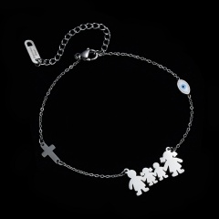 Stainless Steel Charm Family Bracelets Mom Dad Daughter Son Kids Boys Girls Cross Bracelet Silver Color Friends Couple Jewelry MOM-DAD-DAUGHTER-SON