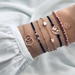 Bohemian Chain Bracelets For Women Flower Tassel Heart Moon Star Turtle Elephant World Map Lotus Charm Bracelets Sets Jewelry 6pcs lotus