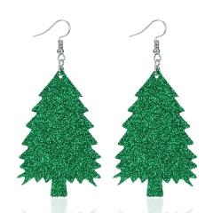 New Bohemian Red Green Glitter Pine Christmas Tree Earrings Female Geometry Faux Leather Earring Jewelry Accessories Green 2