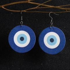 Unique Design Vintage Eye Earrings Women Lucky PU Leather Round Blue Eye Trendy Ear Jewelry Fashion Red Target Brincos Gifts Blue