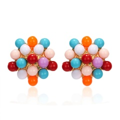 New Arrival Fashionable Simple Rice Beads Fireworks Flower Stud Earrings flower