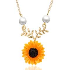 Delicate Sunflower Pendant Necklace Unique Vintage Imitation Pearl Harajuku Jewelry Necklace Princess Bride Flower Drop Necklace gold